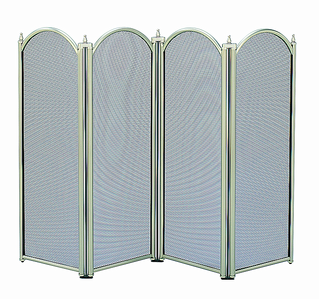 Fire Screen 4 Panel Pewter