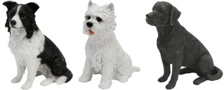 Set of 3 dogs - Border Collie, West Highland Terrier and Black Labrador