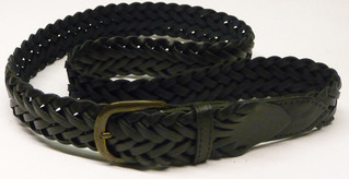 2 BLACK LEATHER PLAITED BELTS WITH METAL BUCKLES