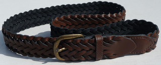 2 BROWN LEATHER PLAITED BELTS WITH METAL BUCKLES
