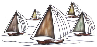 Metal Wall Art - Sailboat Fleet
