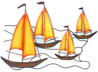 Metal Wall Art - Orange Sails