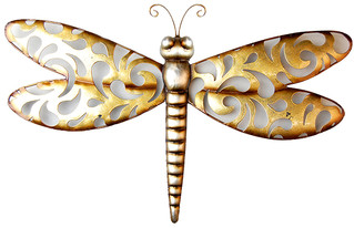 Metal Wall Art - Champagne Dragonfly