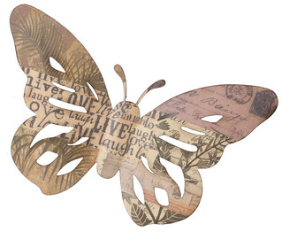 Metal Wall Art - Butterfly 'Live Laugh'  Small